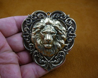 lion head King pride leader love lions HEART shaped Victorian repro brass pin pendant B-Lion-355