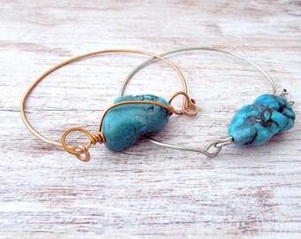 Layering Gemstone Bracelet - Wire Bangle - Layering Bangle Bracelet - Stacking Bracelet - Boho Bracelet Bangle - Gifts for Her - Boho Gifts