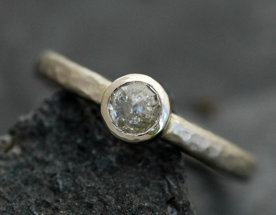 Rose Cut Diamond in  Recycled 14k Gold Unique Engagement Ring- Ready to Ship Hammered Band