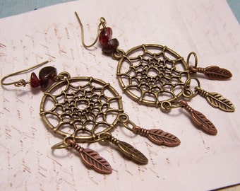 Dream Catcher Earrings in Antique Bronze and Copper