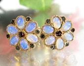 Vintage 10K OPAL GARNET Earrings Pierced Floral Design Amazing Fire Gorgeous