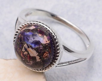 Sterling Silver and Purple Copper Turquoise Ring Size 6 3/4