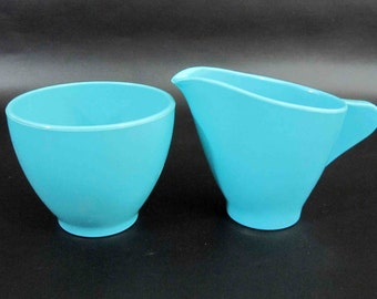 "Vintage 2 Piece Melamine Cream and Sugar Set in Blue by ""Spaulding Ware"". Circa 1950's - 60's."