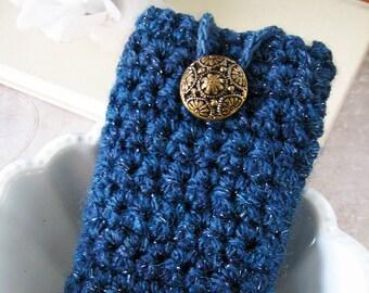 Blueberry Sparkle Crochet Large Gadget Cozy