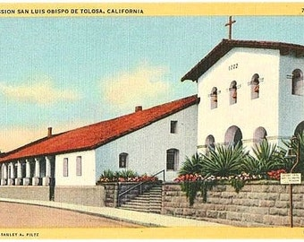 Vintage California Postcard - Mission San Luis Obispo (Unused)