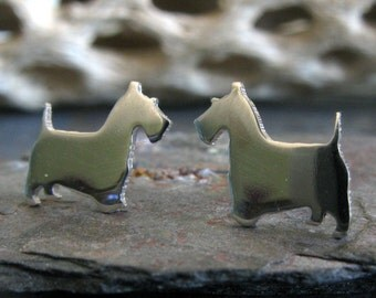 Scottish Terrier post earrings. Dog silhouette jewelry. Sterling silver, 14k gold filled or solid 14k gold studs. Dog lover gift. Scottie..