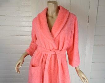 Neon Peach Fuzzy Robe- 60s / 70s Hot Pink Fur- 1960s