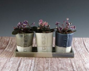 Three Handmade Ceramic Flower Pots - Pottery Windowsill Planters - Desk Planter - Succulent Planter - Set of 3 Pots on a Tray - 762