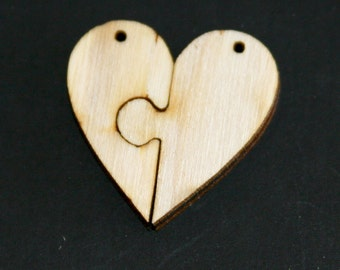 Unfinished Wood Heart Puzzle - 1 inch by 1 inch and 1/8 inch thick wooden shape (HART01)
