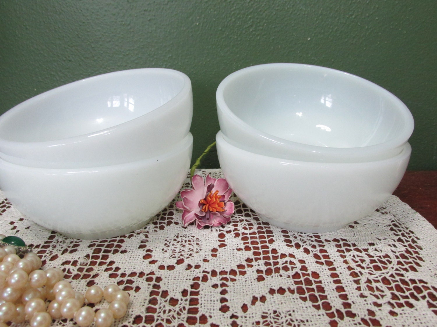 Milk Glass Cereal Bowls Set of 4 Fire King Anchor Hocking