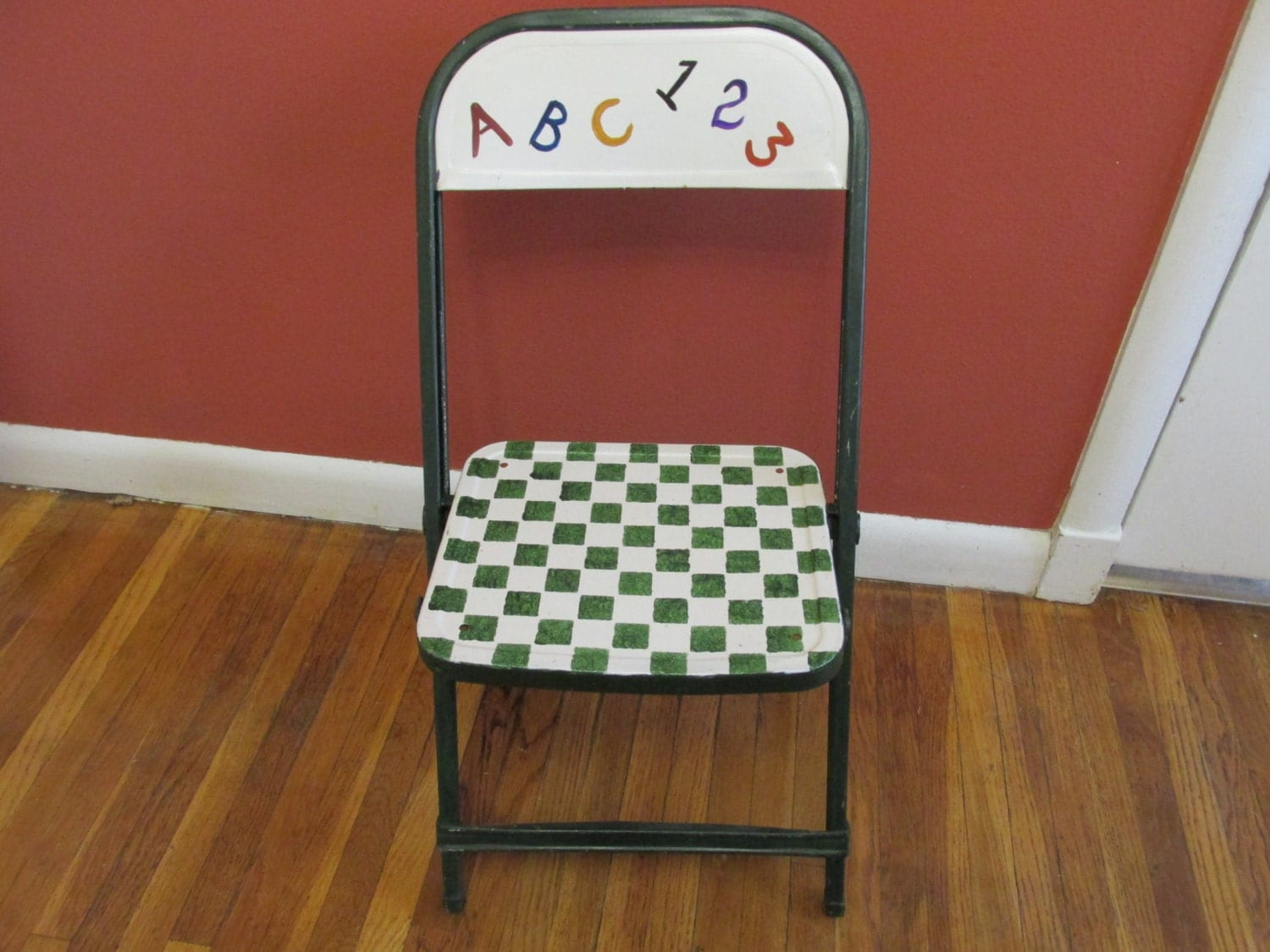 metal folding chair upcycled child size chair time by luruuniques