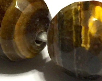 "BIG HOLE Tiger eye faceted round 12mm round beads whole 8"" strand"