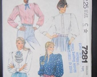 McCalls 7281 Vintage Sewing Pattern Ladies Blouse