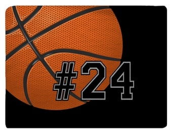 Designer Style Plush Basketball Theme Fuzzy Area Rugs - with your name or number - custom personalized