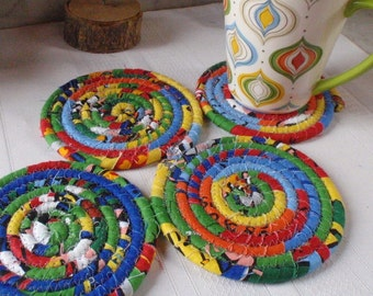 Colorful Coiled Coasters - Set of 4 for Kitchen, Entertaining, Hostess Gift, Handmade by Me