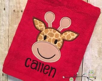 Monogrammed Beach Towel - Giraffe Bath Towel - Personalized
