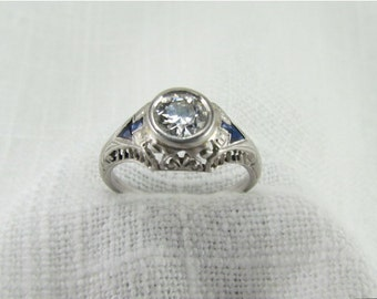 SALE! Appraisal Value: 8,250.00 Circa 1920's  Platinum Filigree Engagement Ring with .75 Carat Early Modern Round Brilliant Cut Diamond