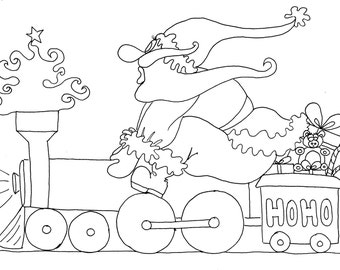 Printable christmas train coloring pages ~ Train coloring pages | Etsy