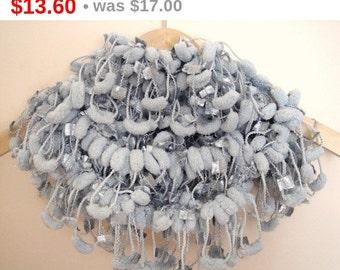 winter sale Curly Pompom Crochet Grey Long scarf neckwarmer cowl With Silver Yarn