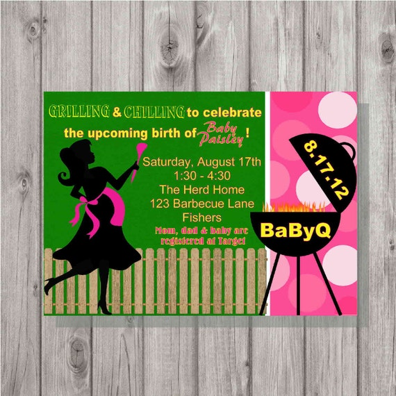Digital BaByQ BBQ Pink Girl Barbecue Party Baby Shower Silhouette Invitation Printable
