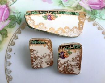 Vintage 80's Broken China Brooch and earrng set Greek Key Floral Chunky