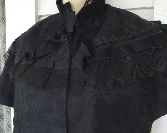 Antique Victorian Mourning Cape Capelet Black Brocade Lace glass beading Ribbon