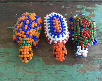Vintage native American Indian turtle Brooch PIN Seed beads leather 2 available