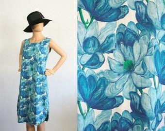 60s Floral Shift Dress 1960s Blue Flower Print Sleeveless Dress Hawaiian Summer Dress Day Dress Sun Dress Medium