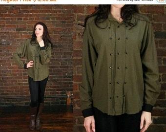 Vintage 80s Slouchy Green Military Boyfriend Shirt Top (O)