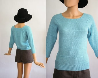 Vintage Spring Knit Sweater / Pastel Baby Blue Jumper Top / 1970s Ribbed Boatneck / 70s Shirt / Quarter Length Sleeves / Small / Medium