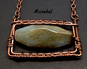 Agate Frame Necklace Wire Wrapped Rectangle Horizontal Taupe Blue Gray Oxidized Copper Abstract Geometric