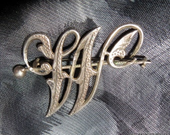 Antique Sterling Silver Initial Letter W Brooch 1 1/4 Inches Tall