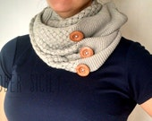 Knit Button Infinity Scarf, 3 colors