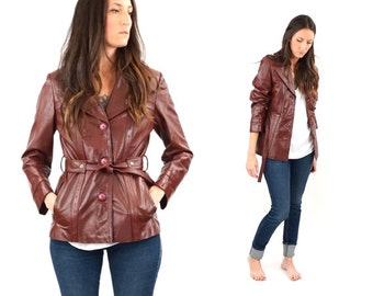 SALE vintage ETIENNE AIGNER burgundy leather jacket M