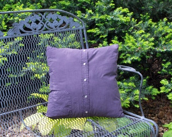 Upcycled Pillow Cover Plum Plaid Pillow 18 inch pillow cover recycled mens shirt home decor preppy decor Quiltsy Handmade