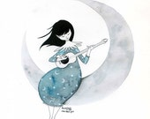 A song for the moon - Original artwork, ink on watercolor paper