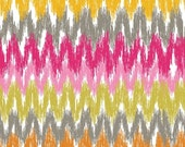 CLEARANCE SALE BY The Yard -- Blend Fabrics Blomma Chevron by Jessica Swift Cotton Fabric --  Pink Gray Green Yellow Orange -- By the yard
