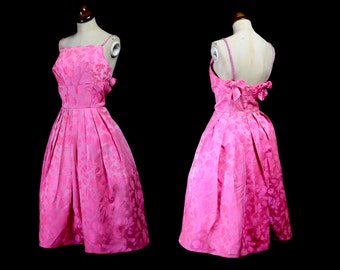 Original Vintage 1950s Neon Pink Satin Brocade Prom Dress - small - FREE SHIPPING WORLDWIDE