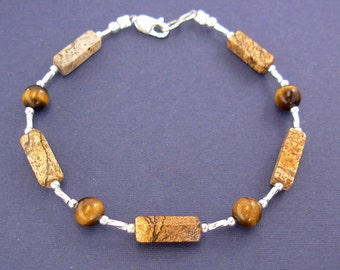 Picture Jasper and Tiger Eye Bracelet with Sterling Silver Spacers - Small to Large Sizes