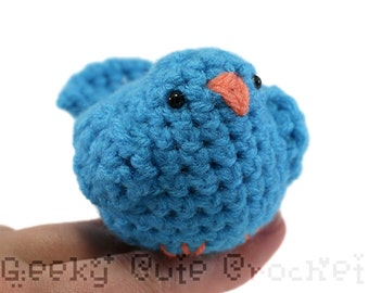 Blue Bird Amigurumi Crocheted Plush Tiny Cute Desk Toy