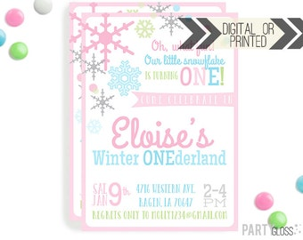 Our Little Snowflake Invitation | Digital or Printed |  Winter Onederland Invitation |  Winter Party Invitation  | Snowflake Invitation