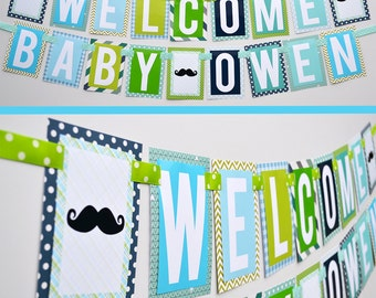 Little Man Baby Shower Banner Decorations Fully Assembled | Little Man Birthday | Mustache Bash | Mustache Birthday | Little Man Party |