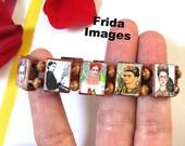 Frida Kahlo elastic wood bracelet one of a kind altered art Viva la Frida Unique bohemian design