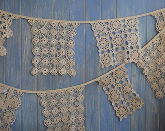Vintage Doily Bunting. Wedding Bunting. A beautiful 4m strand made out of gorgeous square beige doilies.