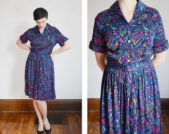As Is 1960s Blue and Fuchsia Patterned Nylon Knit Dress - M