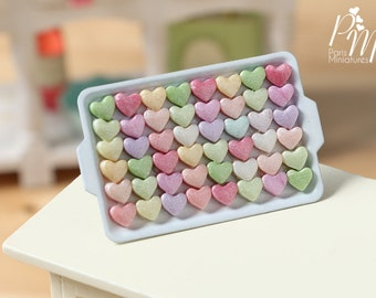 Presentation of Colourful Candy Hearts on Metal Tray - Miniature Food for Dollhouse 12th scale 1:12