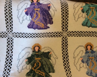 Heavenly Angels Crocheted Afghan Afghans Throw -Extremely Beautiful- Angels - Bed Size