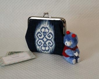 Coin purse - Indigo Blue Coin Purse - Ikat Change Purse - Cotton Coin Purse - Coin Pouch- Coin Wallet