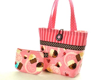 Pink Cupcakes Kids Purse Little Girls Purse Coin Purse Set Cupcakes Fabric Mini Tote Bag Childs Bag Robert Kaufman MTO