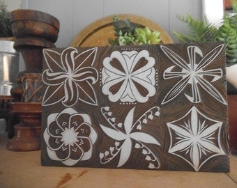 Vintage Wood mounted stamp ~ carved ~ Floral ~ Shapes ~ Lilly of the valley ~ Large display or use